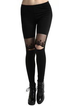 #Romwe Cut-out Lace Black Leggings