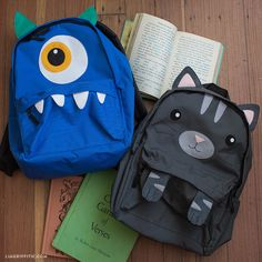 Customize kids backpacks for your little ones this year as they head off to school! Our DIY project includes designs include a toothy monster or cute kitty