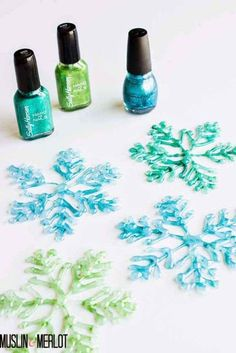 Make darling little winter decorations by using a glue gun and nail polish.
