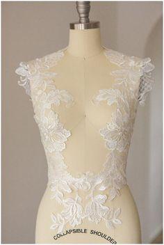 LARGE Flower appliqué,  mirrored SEQUIN wedding dress appliqué, large Lace Flower, IVORY, Illusion Back Lace, flower lace - (CLA0113)