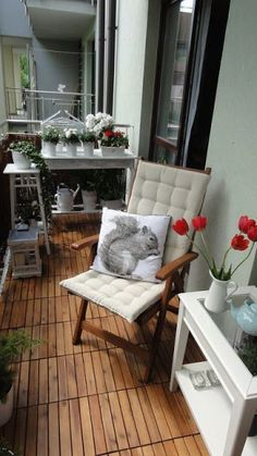 How to spruce up a rental apartment deck; add portable wooden panels for deck fl… - All About Balcony Apartment Deck, Condo Balcony, Tiny Balcony, Small Balcony Decor, Porch And Balcony, Small Outdoor Spaces, Apartment Balconies, Outdoor Rooms, Apartment Living
