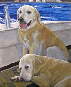 All Aboard Yellow Labs Custom Pet Portrait Dog by HopeLaneArt, $535.00