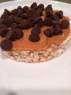 Gluten free snack: organic rice cake, organic peanut butter, organic chocolate chips