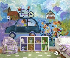"""Wallpaper """"Squirrel On The Bike"""" Wall Design, Squirrel, Kids Rugs, Wallpaper, Home Decor, Bebe, Poster, Decoration Home, Kid Friendly Rugs"""