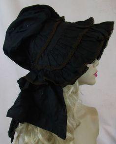 Antique Vintage Victorian 1880's-1890s Black Cotton Lace Bonnet Hat Mourning