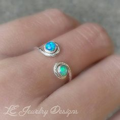 DUAL OPAL RING adjustable opal ring mother's by LEJewelryDesigns