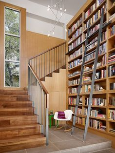 Rollingwood Residence - modern - staircase - austin - Chioco Design - note the bookshelf ladder