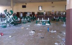 The glass doors of the Mahikeng campus's canteen have been damaged, chairs broken & food lies on the floor. Student Protest, Canteen, Glass Doors, South Africa, Sad, Chairs, Flooring, Glass Pocket Doors, Glass Door