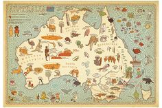 This playful hand-drawn map of Australia by graphic designers Aleksandra Mizielinska and Daniel Mizielinski is intended for younger audiences, and it spotlights exactly what most kids want to know about a country: its unique animals and weird foods. World Street, Street Art, World History Lessons, Art Carte, Pictorial Maps, Map Globe, Australia Map, Map Design, Children's Literature