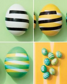 Use electrical tape to dye a pattern on Easter eggs.