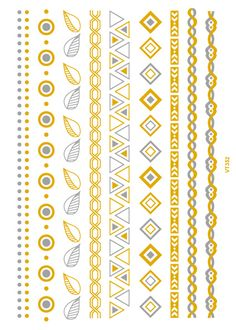 699cd4f44 VT352 21X15cm Gold Golden Large Tattoo Stickers Indian Tribe Bracelet Flash  Tattoos Glitter Temporary Tattoo Body