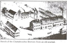 This is an artists sketch of the original Chattahoochee Brewing Company