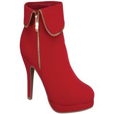 red suede material side zipper foldable zipper accent trim casual high... (930 RUB) ❤ liked on Polyvore featuring shoes, boots, ankle booties, heels, red, red boots, high heel boots, fold over booties, side zipper boots and high heel ankle booties