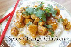 spicy orange chicken recipe - I used homemade orange jam instead of oj concentrate, brown sugar and honey