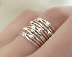Conjunto de anillo en plata de ley-lluvia Set de por esdesigns