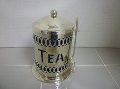 TEA CADDY. Vintage Tea Caddy & Spoon. by TheBrambleyCottage