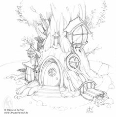 fairy tree house coloring pages Fairy Drawings, Pencil Art Drawings, Art Drawings Sketches, Fairytale Drawings, House Colouring Pages, Adult Coloring Pages, Coloring Books, Fairy Coloring Pages, Kids Coloring
