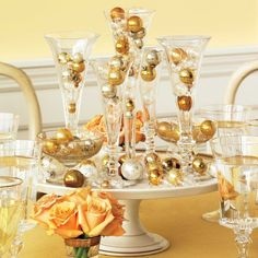Bauble-filled Drink Glass Centerpiece