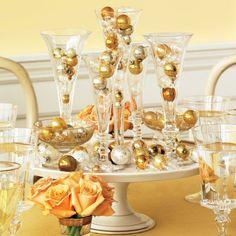 Bauble-filled Drink Glass Centerpiece