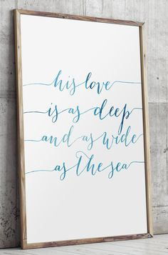 Nursery bible verses watercolor typography print deep and wide as the sea…