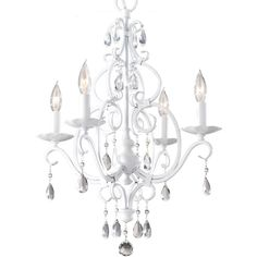Finish: Semi Gloss White Lamping: 4 candelabra B Flame Tip 60w Max.   Details: 	Flush: 20'' Total Height: 83 5/8'' Supplied with 180'' of wire Supplied with 60'' of chain Canopy: Depth: 1''  Diameter: 5''