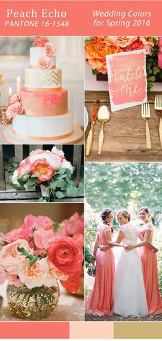 gold and coral peach echo Pantone wedding color trends 2016