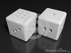 A couple of white dice on a black glossy table - 3D rendering illustration