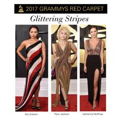 """""""2017 Grammys Trend: Glittering Stripes"""" by polyvore-editorial ❤ liked on Polyvore featuring RedCarpet and Grammys"""