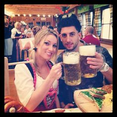 Jeana and Jesse are having a beer.