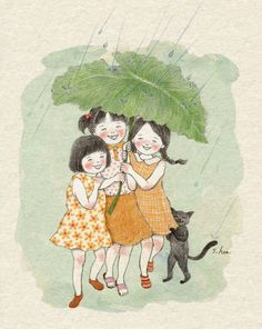 Hee girl and cat Art Drawings Sketches Simple, Cute Drawings, Anime Friendship, Cute Paintings, Korean Artist, Cartoon Pics, Whimsical Art, Cute Illustration, Cat Art