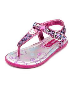 Look what I found on #zulily! Pink & Silver Hello Kitty Shimmer Sandal #zulilyfinds