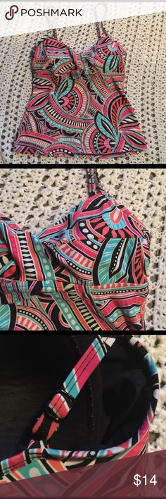 Bright & pretty tankini swim suit top Sz. 12☀️👙🌴 Super pretty!! Excellent new like condition! Washed & never worn!! Made by Croft & Barrow this is a women's size 12 tankini swim suit top! A bright & pretty colored, neat designed in white, black coral like, pinks, mint/turquoise colors. Love the colors of this! Lightly padded inside/bust, adjustable straps, elastic fitting around the inside chest/bust area for support/secure. This is stylish & ohhh so purtttyyy!! *colors may vary a pinch…