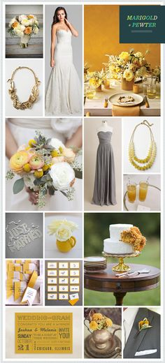 REVEL: Marigold + Pewter Wedding Inspiration Somethingvintage.com.au