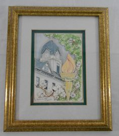 Patsy Gullett Sculptured Watercolor Fayetteville Georgia Courthouse Signed