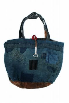 Japanese boro indigo patchwork tote bag/big size/natural indigo ranru/cotton/patched hand stitch/noragi/kimono/remake/reversible/286