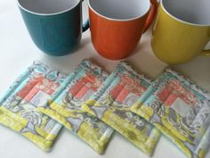 Items similar to Aqua, yellow & orange log cabin quilted coasters, set of 4 made with quality Moda fabrics on Etsy Quilted Coasters, Star Candle, Summer Quilts, Log Cabin Quilts, Quilted Table Runners, White Candles, Easter Table, Small Quilts, Orange