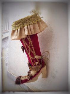 Handmade red gold victorian vintage luxury christmas  stocking boot fireplace festive decoration by VintageShopCreations on Etsy