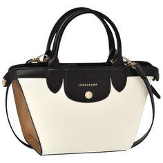 Small handbag - Le Pliage Héritage Tricolore - Handbags - Longchamp - Ecru/black/natural - Longchamp United-States