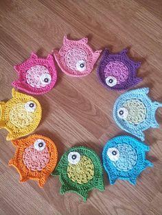 Ravelry: Rainbow fish coaster,aplique pattern by Fresh hook crochet