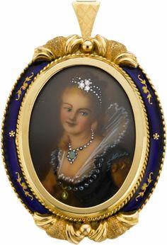 Miniature Painted Portrait, Diamond, Emerald, Enamel, Gold Pendant-Brooch
