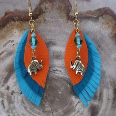 Boucles découpes forme plumes , éléphant couleur bronze