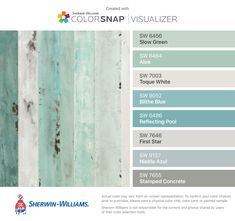 I found these colors with ColorSnap® Visualizer for iPhone by Sherwin-Williams: Slow Green (SW 6456), Aloe (SW 6464), Toque White (SW 7003), Blithe Blue (SW 9052), Reflecting Pool (SW 6486), First Star (SW 7646), Niebla Azul (SW 9137), Stamped Concrete (SW 7655).