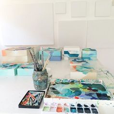 A lot of work in progress on my table and fresh white panels ready and waiting for their turn. Preparing for an exciting collaboration, Fall shows and a big 30th birthday October challenge for myself