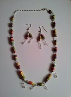 Paper bead Jewellery set by bitsbeads on Etsy, £8.00