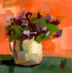 Violets in Pitcher Art Print by Angela Moulton 8 x 8 inch