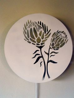 Protea Wall Light | Zulu HatsZulu Hats Protea Art, Protea Flower, Zulu, Ceramic Painting, Fabric Painting, Rock Painting, Botanical Line Drawing, Laser Cut Steel, Laser Art