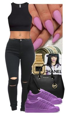 """Untitled #52"" by nadinesemedo ❤ liked on Polyvore featuring Forever 21, Casio, MICHAEL Michael Kors, Accessorize, H&M, black, Chanel, michaelkors, adidas and casio"
