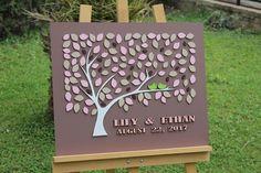 3D Wedding Guest book Alternative Light Brown Blush Pink wedding Alternative Guestbook Rose Script Custom Wedding guestbook