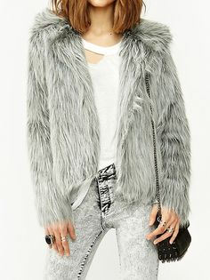 Elegant Wide Turn Down Solid Long Sleeve Coat Gray on buytrends.com