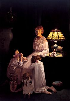 Norman Rockwell (1894-1978) - painted small-town American scenes for The Saturday Evening Post, and later created covers for Look magazine.  Here a mother is hearing her children's prayers before their bedtime.
